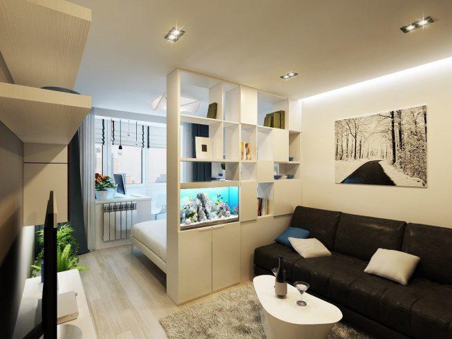 Перегородка-стеллаж между спальней и гостиной