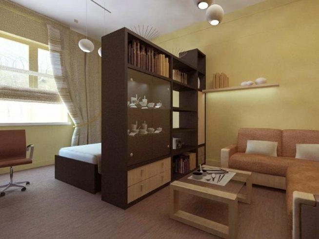Шкаф-перегородка для зонирования комнаты