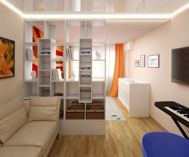 Отделение функциональным стеллажом детской спальни