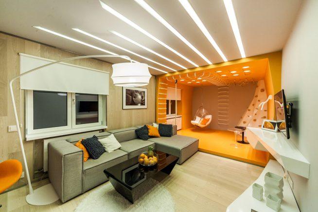Зонирование комнаты светом