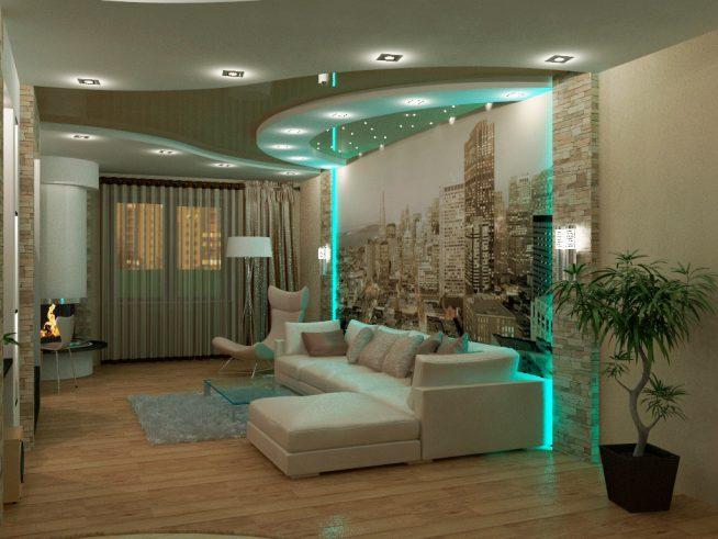 Эффектная подсветка гостиной маленькой студии