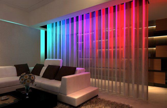 Зонирование комнаты неоновой подсветкой