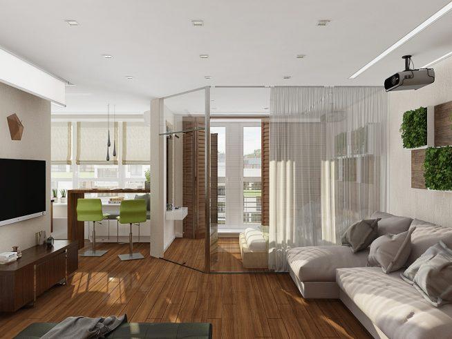 Спальня в студии за стеклянной перегородкой
