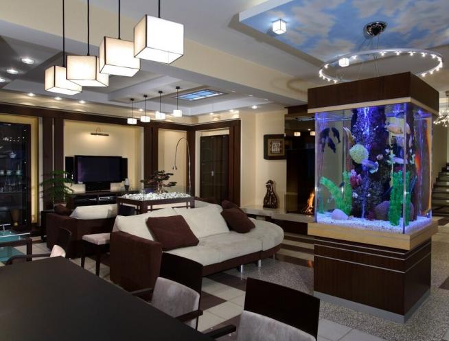 Перегородка-аквариум в студии