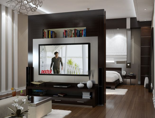 Стеллаж-перегородка с телевизором