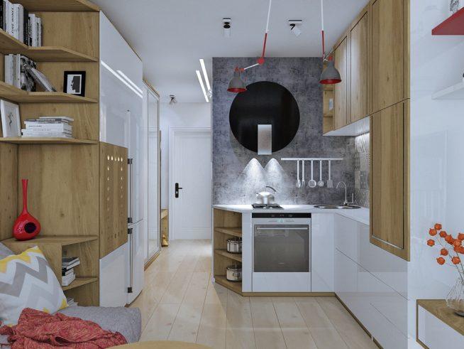 Шкаф в прихожей с мини-кухней и книжным стеллажом