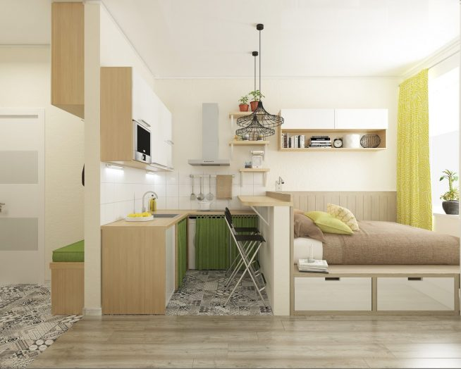 Компатная кухня на стене между гостиной и прихожей