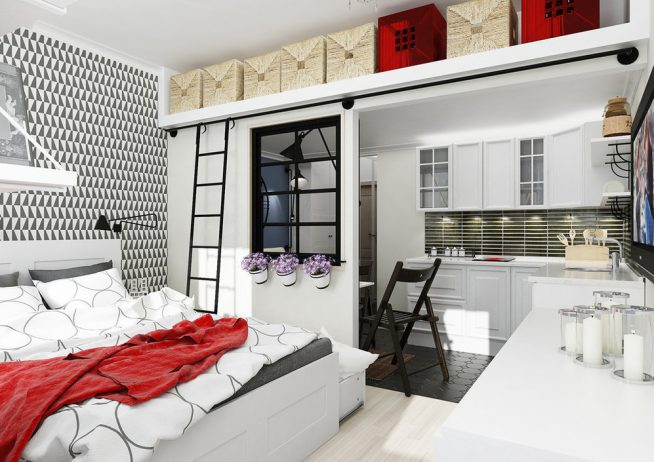 Спальня за дверью-купе