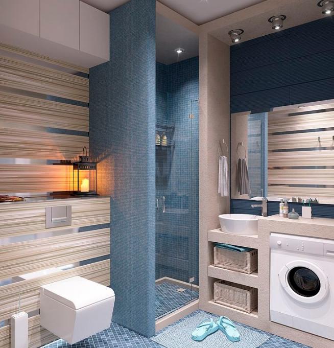 Стильная ванная комната в квартире-студии