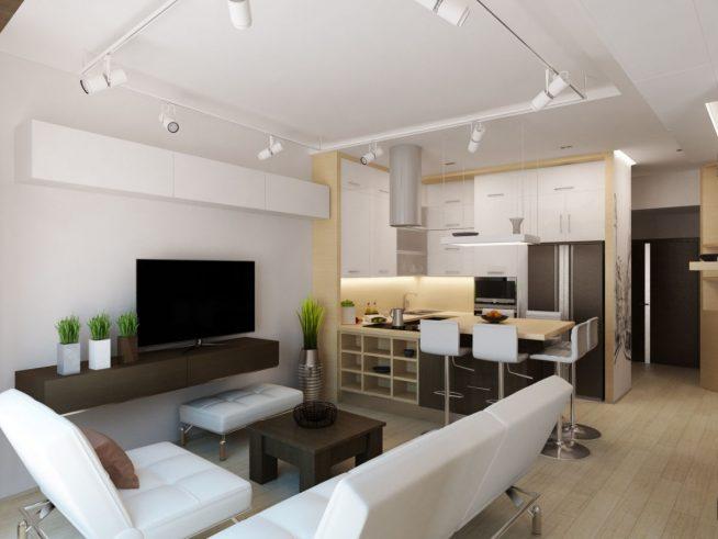 Зона отдыха и столовой в гостиной квартиры-студии