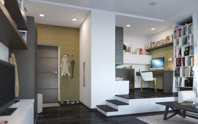Гостиная с рабочим столом на подиуме кухонной зоны