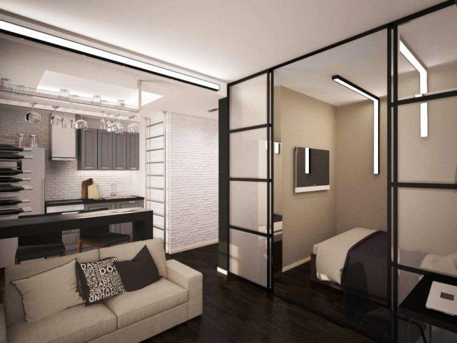 Спальня в маленькой студии за стеной-купе