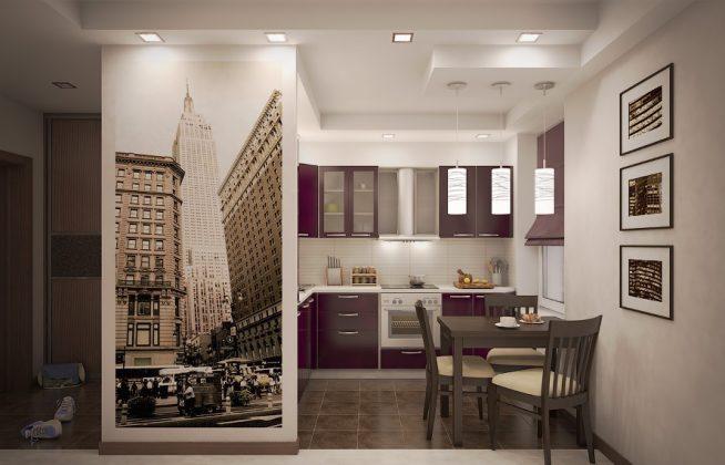 Фотообои на простенке между прихожей и кухней