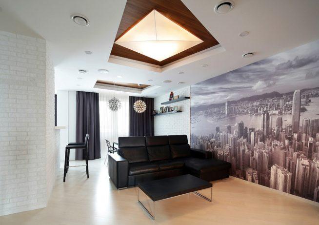 Вариант дизайна прямоугольной квартиры-студии