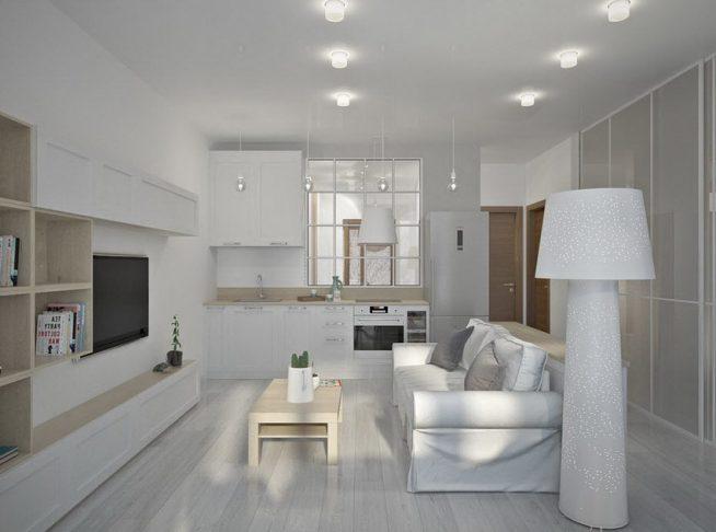 Освещение зоны гостиной торшером и потолочными светильниками