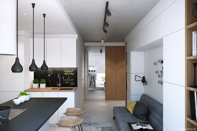 Дизайн квартиры-студии прямоугольной формы: подборка на фото