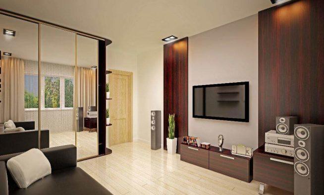 Шкаф-купе в гостиной с практичным стеллажом