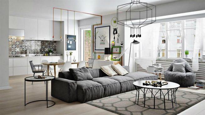 Эффектно декорированная студия скандинавского дизайна