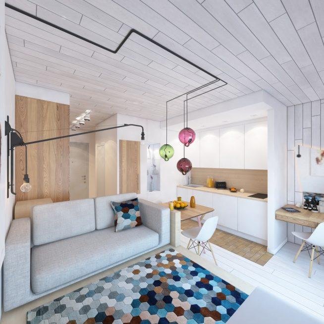 Студия скандинавского дизайна с красочными светильниками
