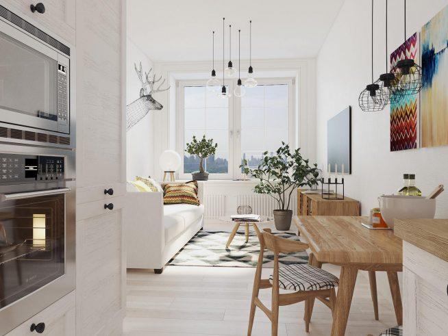 Кухня в студии в скандинавском стиле