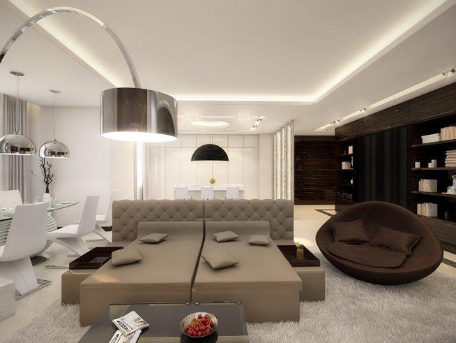 Интерьер в стиле хай-тек, выдержанный в коричневой гамме