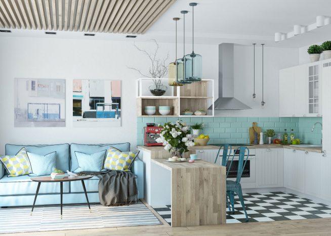 Дизайн квартиры-студии в пастельных тонах