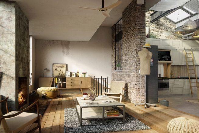 Интерьер квартиры-мансарды в стиле лофт