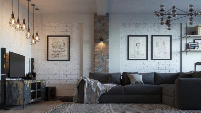 Светильники в стиле лофт в интерьере квартиры-студии