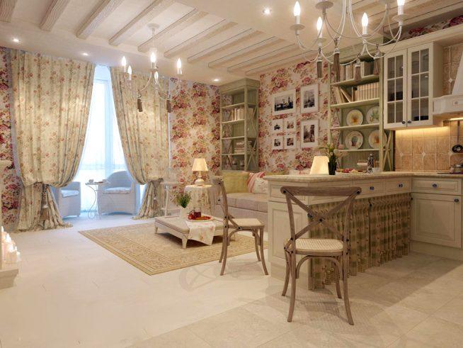 Кухонная зона в студии стиля прованс