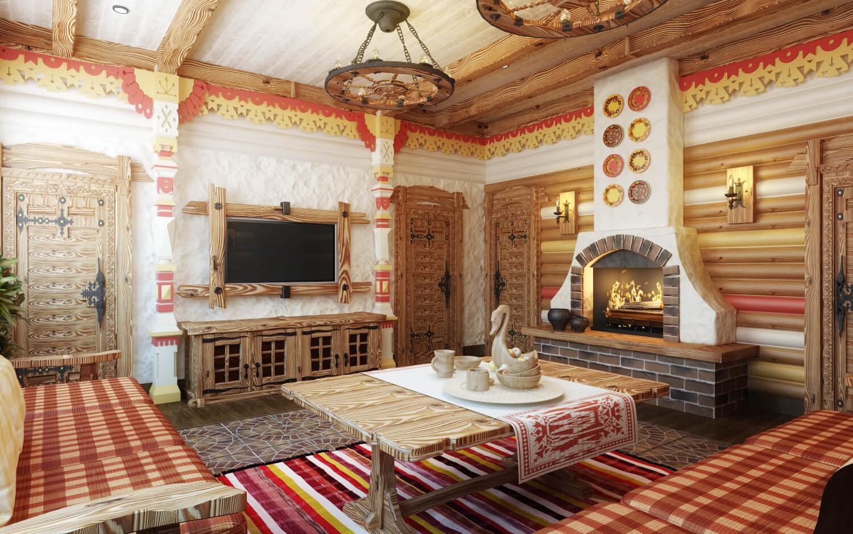 Оформление помещения в русском стиле фото