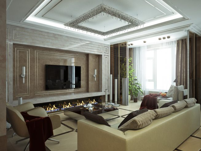 Дизайн гостиной с биокамином