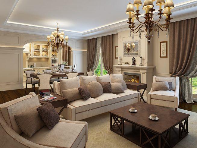 Освещение классической гостиной двумя старинными люстрами