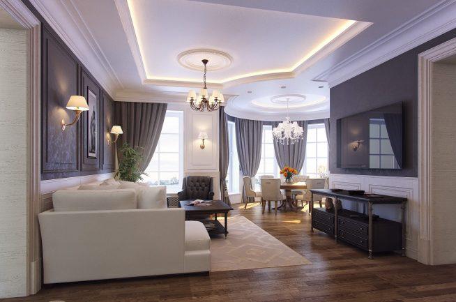 Освещение классической гостиной люстрами и бра