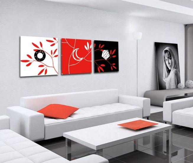 Картины в интерьере гостиной в стиле хай-тек