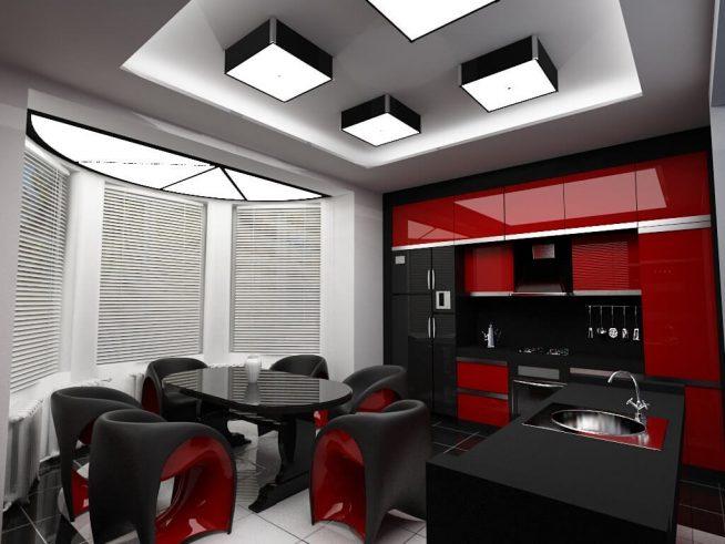 Эффектные светильники в гостиной в стиле хай-тек