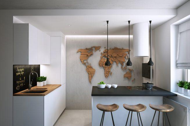 Барная стойка с рабочей поверхностью на маленькой кухне