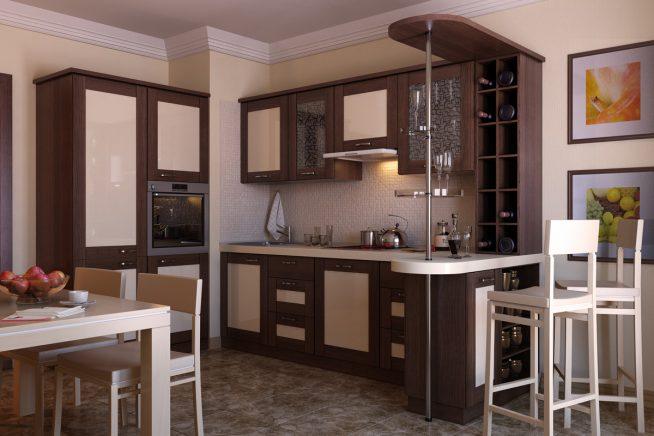 Практичная барная стойка на маленькой кухне