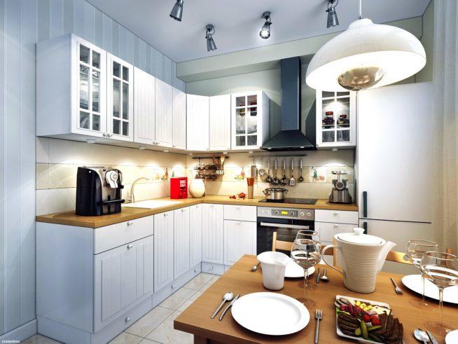 Освещение рабочего стола кухни точечными приборами