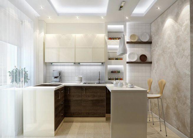 Освещение кухни неоновыми лампами