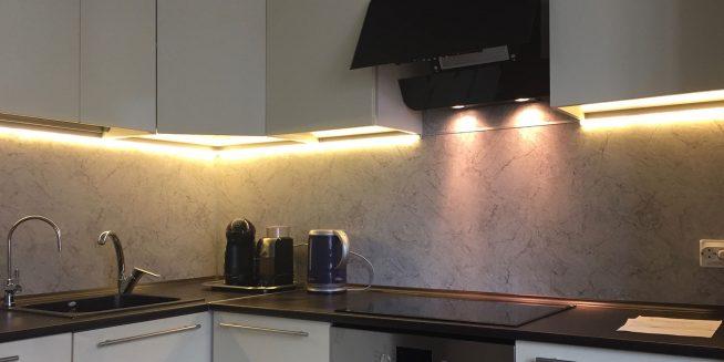 Освещение маленькой кухни светодиодной подсветкой