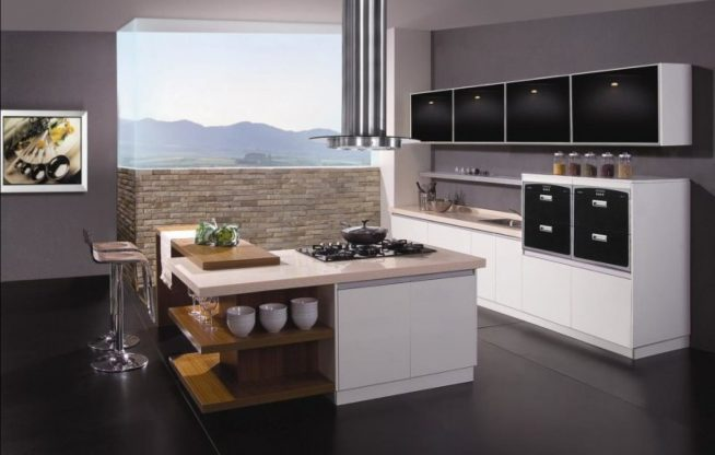 Кухонный остров с полками для посуды