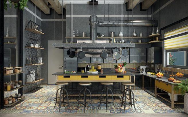 Необычный дизайн кухни в индустриальном стиле
