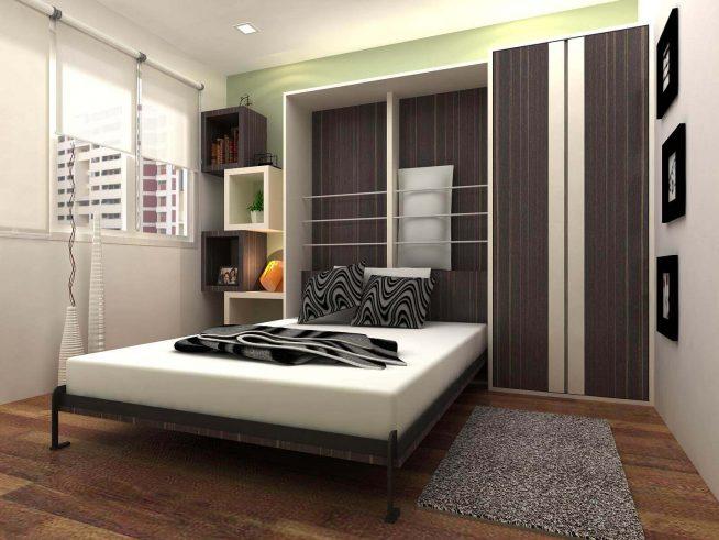 Откидная кровать-трансформер в маленькой спальне