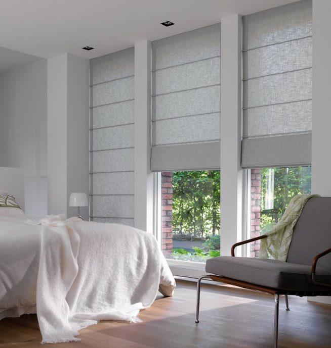 Римские шторы в маленькой спальне