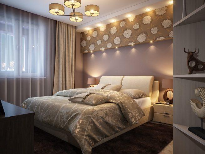 Освещение спальни люстрой и настольными лампами