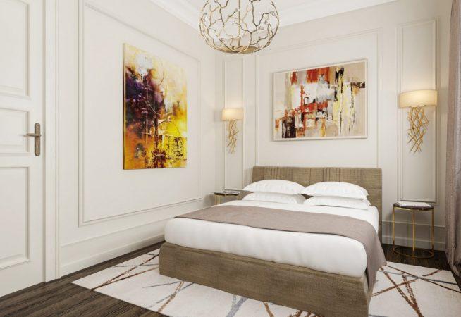 Современная спальня с абстрактной живописью