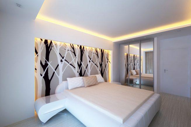 Эффектная подсветка стен и потолка в спальне