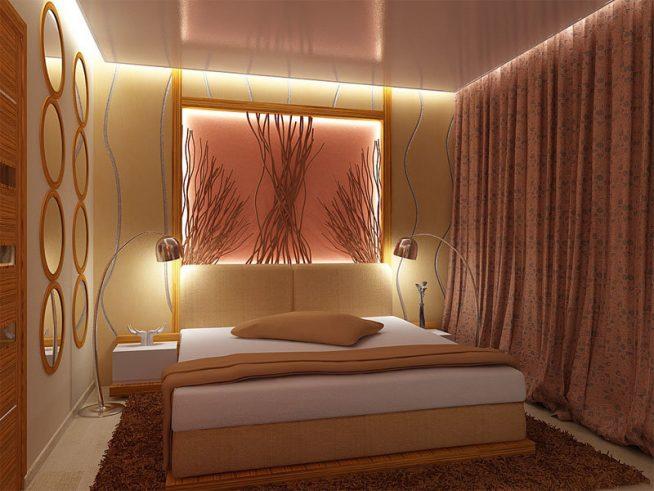 Красивая подсветка маленькой спальни