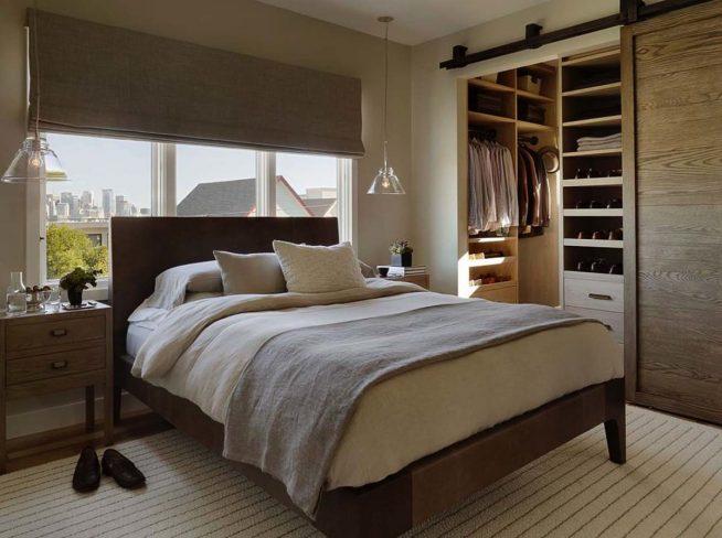 Спальня и гардеробная в стиле кантри