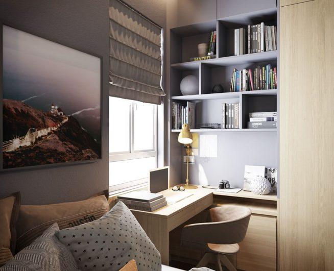 Встроенное рабочее место в спальне